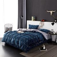 当当优品暖绒四件套 抗静电加厚细密保暖床品 双人加大1.8米床 湖蓝