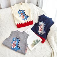 儿童针织背心纯棉春秋外穿小童秋冬毛衣马甲套头宝宝秋季上衣打底
