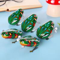 80后怀旧复古大号弹跳青蛙 经典铁皮青蛙跳跳蛙发条儿童玩具
