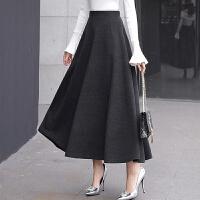 毛呢半身裙长裙女百搭高腰大摆裙加厚A字裙中长款呢子伞裙子冬裙 灰色 无口袋