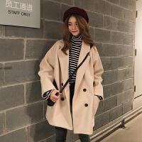 2018流行呢子大衣女秋冬新款韩版宽松中长款小个子森系毛呢外套潮 均码