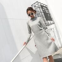 针织打底衫长袖连衣裙女装2018秋冬新款中长款收腰气质百褶毛衣裙