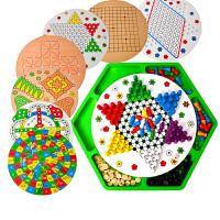 儿童早教益智玩具 十合一木质制多功能跳棋五子棋飞行棋