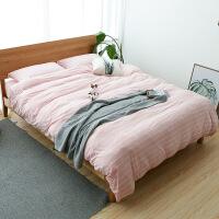 日式天竺棉四件套全棉纯棉条纹针织棉床上三件套被套宿舍学生单人