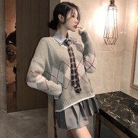 春季V领宽松毛衣+简约纯色POLO领打底衬衫+百褶高腰半身裙套装女