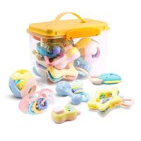 手摇铃婴儿玩具 0-1岁新生幼儿宝宝牙胶玩具3-6-12个月 可高温水煮箱装8件套摇铃