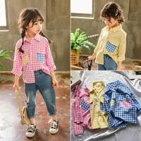 2019新款儿童学院风格子长袖上衣3-7岁宝宝洋气衣服女童春装衬衫