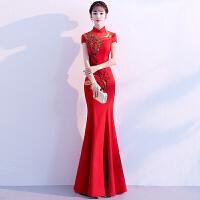 中式新娘敬酒服旗袍2018新款长款红色鱼尾中国风结婚晚礼服女冬季