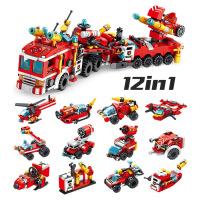 儿童兼容乐高积木拼插积木玩具男孩子拼插消防机器人军事3拼装4汽车5周岁6