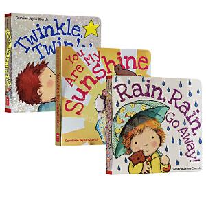 英文原版绘本 儿歌童谣0-3岁 Twinkle Twinkle Little Star 一闪一闪小星星系列 3册纸板书 卡洛琳杰恩