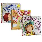 英文原版绘本 儿歌童谣0-3岁 Twinkle Twinkle Little Star 一闪一闪小星星系列 3册纸板书