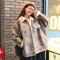 2018流行呢子大衣女秋冬新款韩版宽松加厚森系小个子毛呢格子外套 均码