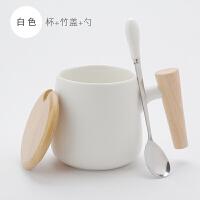 【新品热卖】木柄马克杯带盖勺定制logo简约陶瓷文艺刻字创意情侣一对日式水杯