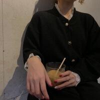 蕾丝拼接短款温柔针织衫外套秋冬女新款百搭复古气质毛衣开衫 黑色 均码 图片色