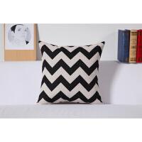 北欧棉麻靠垫靠枕复古黑白简约铁塔方形沙发抱枕套不含芯定制