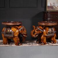 【品牌热卖】大象凳子门口换鞋凳家用客厅创意中式摆件乔迁礼品结婚装饰品 一对