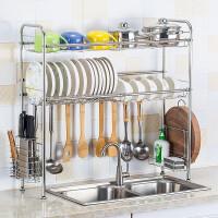 不锈钢厨房置物架水槽沥水架碗架洗碗池收纳架双层碗碟架刀架筷子筒