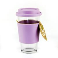 GLASS LOCK 三光云彩 韩国格拉斯乐扣钢化玻璃随手杯水杯RC106加隔热圈透气孔杯盖