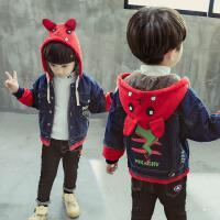 童装秋冬新款男童加绒牛仔外套连帽中小童加厚牛仔夹克加绒夹克潮