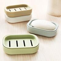 香皂盒双层沥水带盖肥皂盒沥水带盖旅行香皂盒创意浴室卫生间洗衣双层塑料香皂盒L D143 卡其