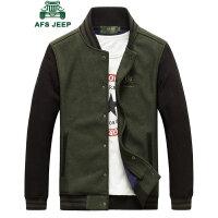 战地吉普男士夹克 时尚拼色立领棒球服男 韩版潮男加绒保暖短款夹克衫外套
