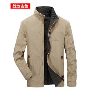 战地吉普AFS JEEP纯棉两面穿男士夹克 春秋冬双面立领夹克 男装休闲宽松大码夹克衫外套