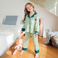 女童睡衣春秋季薄款儿童长袖家居服套装中大童女孩亲子母女装