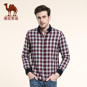 骆驼男装 新品 新款男士长袖衬衫 男士尖领直筒休闲格子衬衫