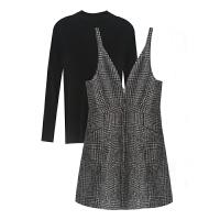 韩版打底针织衫修身毛呢裙两件套秋季女背带裙子淑女气质套装