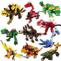 积木玩具 小颗粒拼装侏罗纪恐龙男孩子益智组装霸王龙