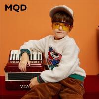 MQD童装男童19冬新款羊羔绒宽松加厚保暖卫衣中大童套头加绒外套