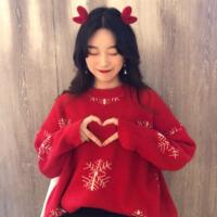 2018新款秋冬女装韩版宽松慵懒风卡通圣诞打底网红套头针织衫毛衣 均码