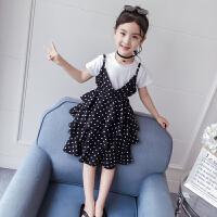 2019新款女孩童装裙子公主裙洋气儿童时髦两件套女童夏装套装