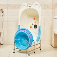 脸盆收纳架落地式不锈钢盆架卫生间洗脸盆架浴室置物架收纳宝宝盆 可同时放大圆盆和宝宝盆