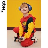 MQD男童拼接连帽套装加绒保暖2019秋冬新款儿童加厚运动两件套潮