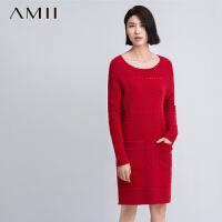 AMII[极简主义]秋冬纯色长袖麻花镂空针织毛衣大码连衣裙11571093