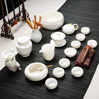 高白玉瓷功夫茶具套装茶壶茶杯陶瓷盖碗整套家用办公礼盒德化白瓷