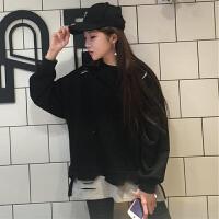 春季新款宽松上衣韩版学生拼色套头女装破洞长袖假两件套卫衣外套