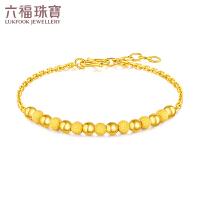 六福珠宝圆圆满满圆珠黄金手链足金手链含延长链计价F63TBGB0032