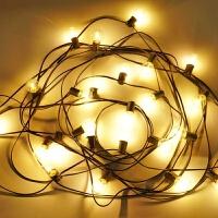 户外防水LED灯串g40灯串插电款黄光圣诞节日婚礼装饰灯带LED灯泡 7.65米25颗LED黄光透明罩灯串