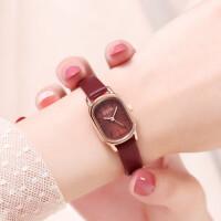 女表长方形时尚复古女士手表女酒红色学生皮带石英腕表