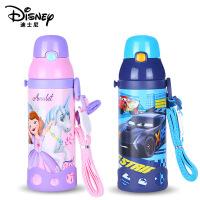迪士尼保温杯子304不锈钢带吸管幼儿学饮杯婴儿水壶宝宝两用水杯520ml