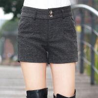 外穿高腰毛呢短裤女秋冬2018新款韩版显瘦直筒靴裤呢子女士打底裤