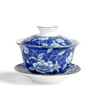 【优选】青花瓷盖碗德化高白瓷敬茶杯陶瓷功夫茶具泡茶碗介杯三才碗套装 传世青花盖碗