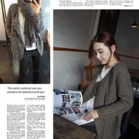 k351韩国女装代新品斜拉链粗棒针短款毛线春秋女毛衣外套开衫现货