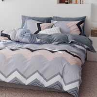 简约格子四件套全棉纯棉床单被罩被套大学生宿舍单人床上三件套4