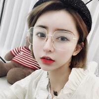 眼镜框女ins大框方形平光镜长圆脸装饰眼镜架近视眼睛