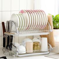 沥水架厨房置物架用具用品碗筷收纳盒碗柜碗碟架放碗盘收纳架 带木质刀架双盘304不锈钢砧板款