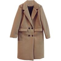 加厚双排扣毛呢大衣女秋冬宽松显瘦中长款流行大衣呢子外套 均码