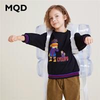 MQD男童童装2019秋新款中大儿童卡通卫衣运动衫韩版圆领套头上衣